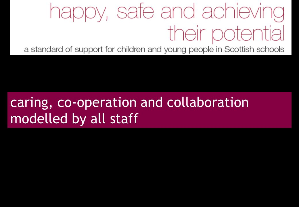 caring, co-operation and collaboration modelled by all staff