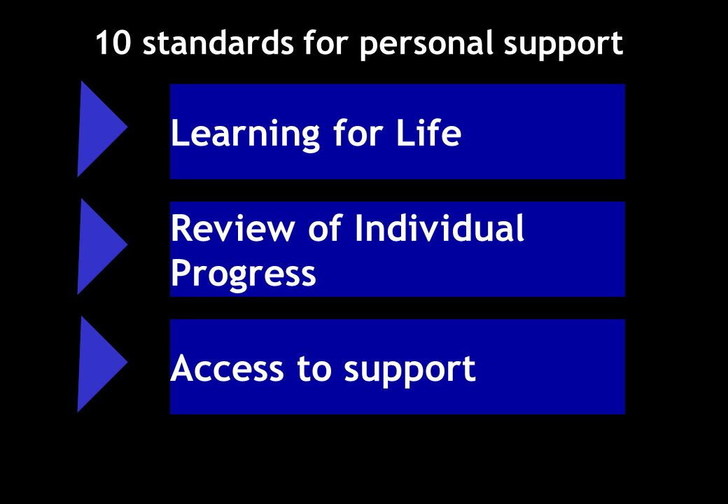 10 standards for personal support Review of Individual Progress Access to support Learning for Life