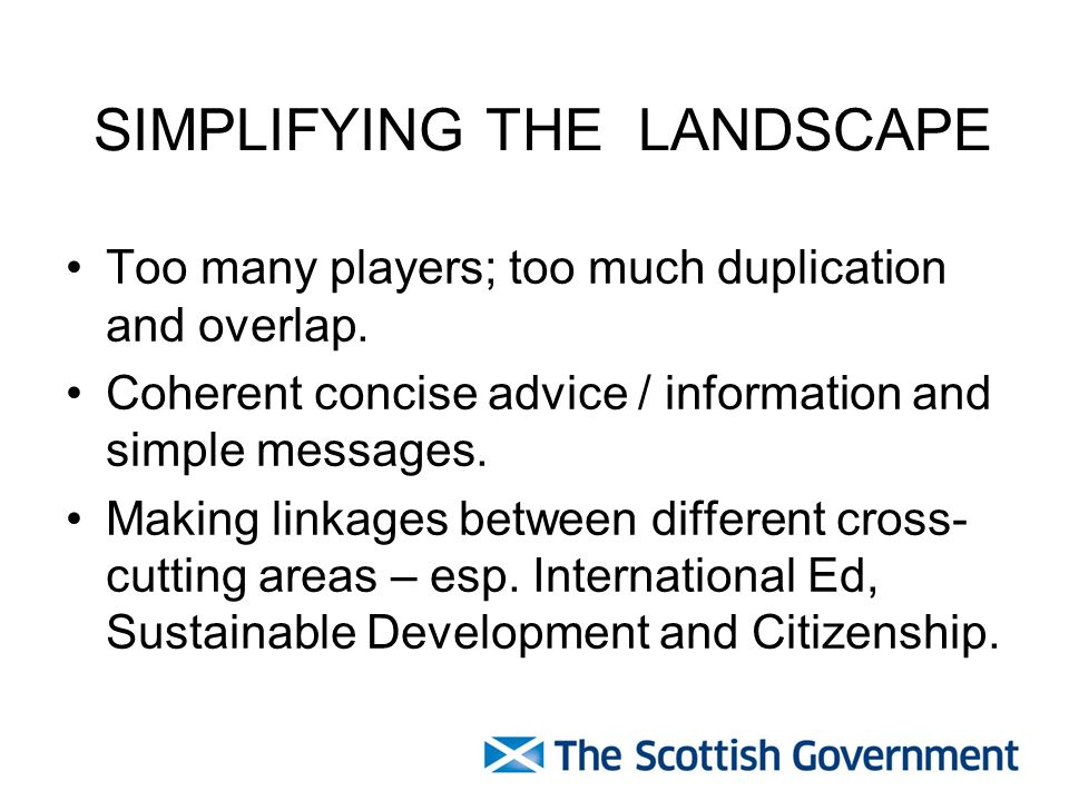 SIMPLIFYING THE LANDSCAPE Too many players; too much duplication and overlap.