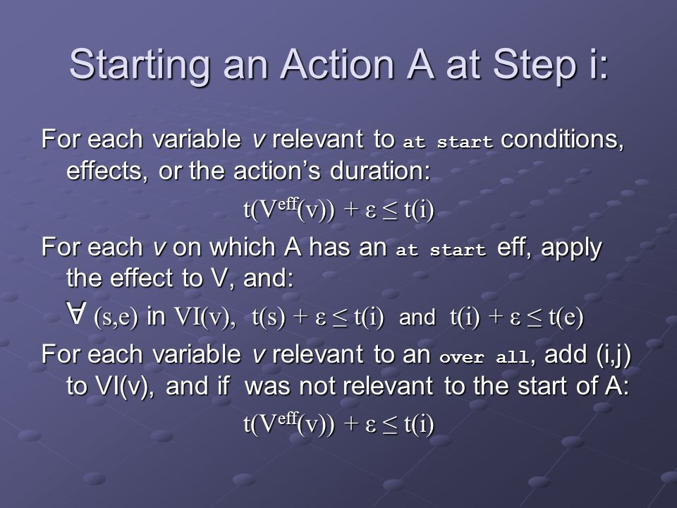 Starting an Action A at Step i: For each variable v relevant to at start conditions, effects, or the actions duration: t(V eff (v)) + ε t(i) For each v on which A has an at start eff, apply the effect to V, and: (s,e) in VI(v), t(s) + ε t(i) and t(i) + ε t(e) For each variable v relevant to an over all, add (i,j) to VI(v), and if was not relevant to the start of A: t(V eff (v)) + ε t(i) A