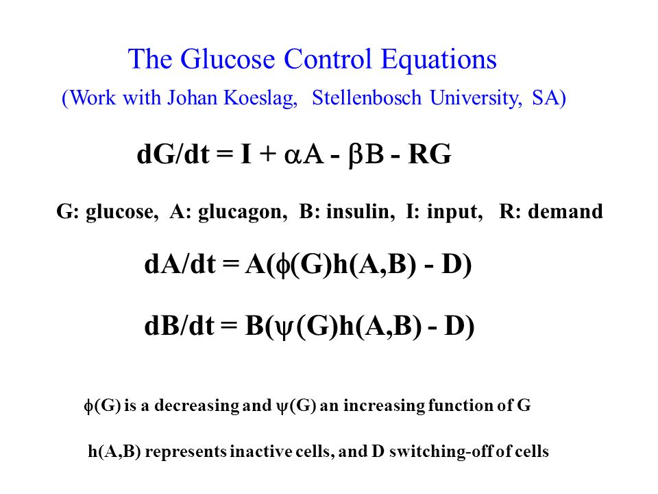 The Glucose Control Equations dG/dt = I RG G: glucose, A: glucagon, B: insulin, I: input, R: demand dA/dt = A( G)h(A,B) - D) dB/dt = B( G)h(A,B) - D) G) is a decreasing and G) an increasing function of G h(A,B) represents inactive cells, and D switching-off of cells (Work with Johan Koeslag, Stellenbosch University, SA)