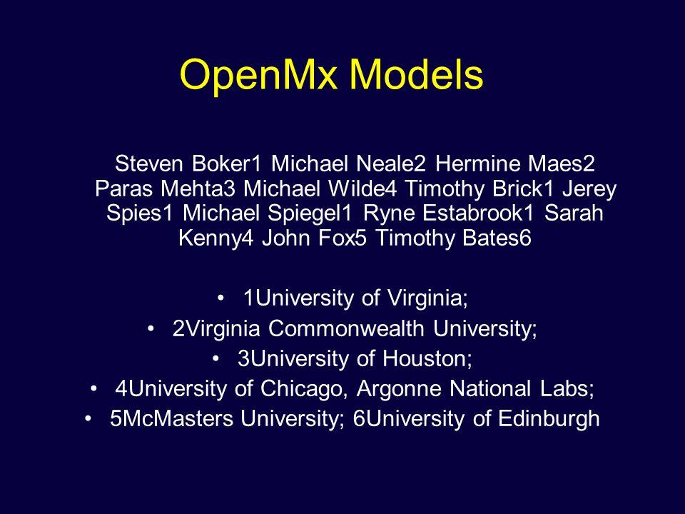 OpenMx Models Steven Boker1 Michael Neale2 Hermine Maes2 Paras Mehta3 Michael Wilde4 Timothy Brick1 Jerey Spies1 Michael Spiegel1 Ryne Estabrook1 Sara
