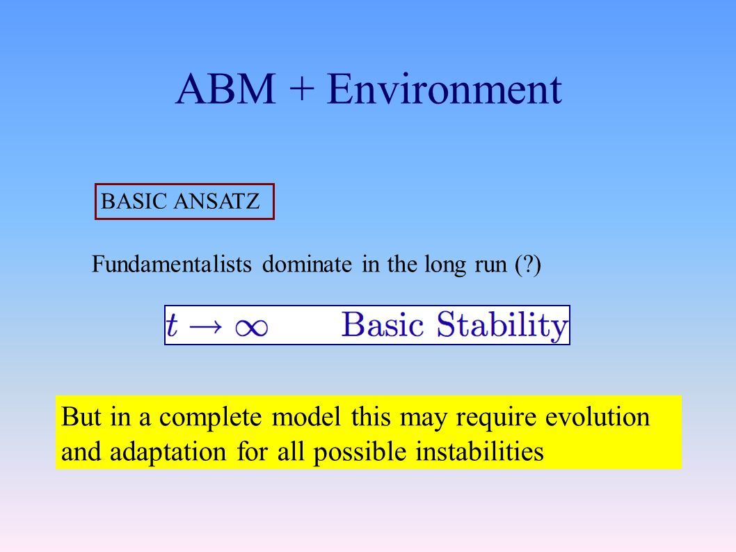 ABM + Environment BASIC ANSATZ Fundamentalists dominate in the long run ( ) But in a complete model this may require evolution and adaptation for all possible instabilities