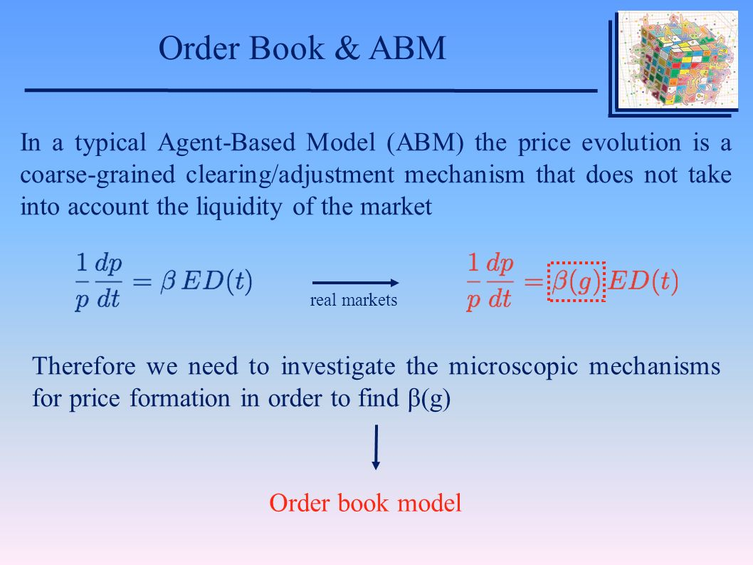 Order Book & ABM Order book model In a typical Agent-Based Model (ABM) the price evolution is a coarse-grained clearing/adjustment mechanism that does not take into account the liquidity of the market real markets Therefore we need to investigate the microscopic mechanisms for price formation in order to find β(g)