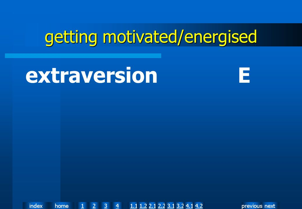 nextpreviousindexhome12341.12.11.22.23.13.24.14.2 getting motivated/energised extraversion E