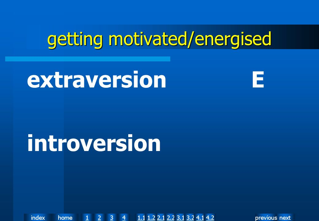 nextpreviousindexhome12341.12.11.22.23.13.24.14.2 getting motivated/energised extraversion E introversion