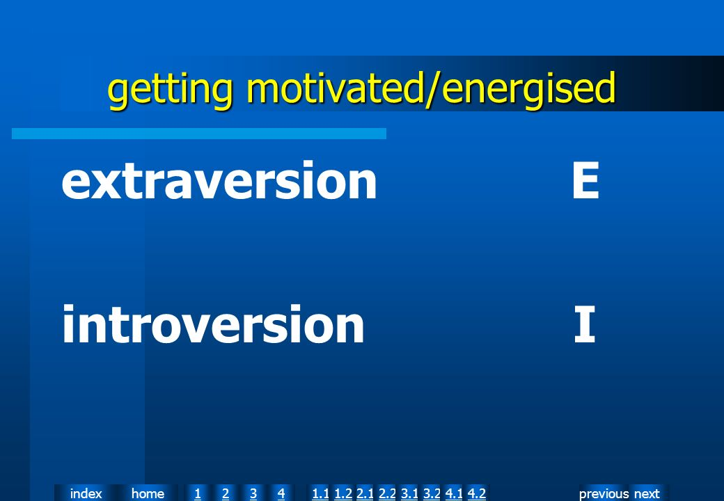 nextpreviousindexhome12341.12.11.22.23.13.24.14.2 getting motivated/energised extraversion E introversion I