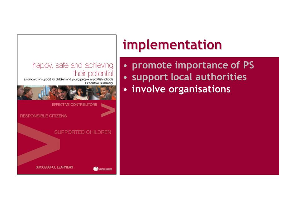implementation promote importance of PS support local authorities involve organisations