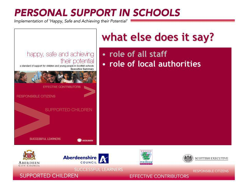 what else does it say role of all staff role of local authorities