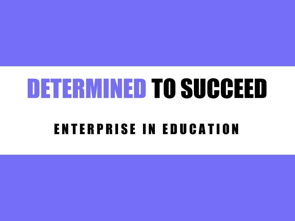 DETERMINED TO SUCCEED E N T E R P R I S E I N E D U C A T I O N