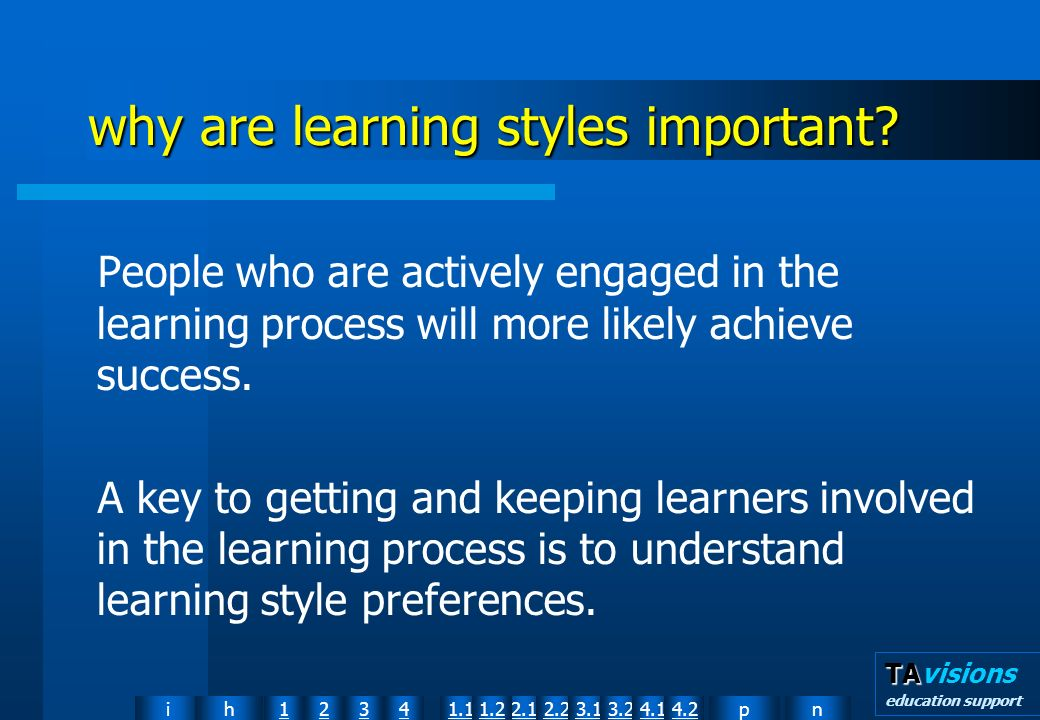 npih12341.12.11.22.23.13.24.14.2 TA TAvisions education support why are learning styles important.