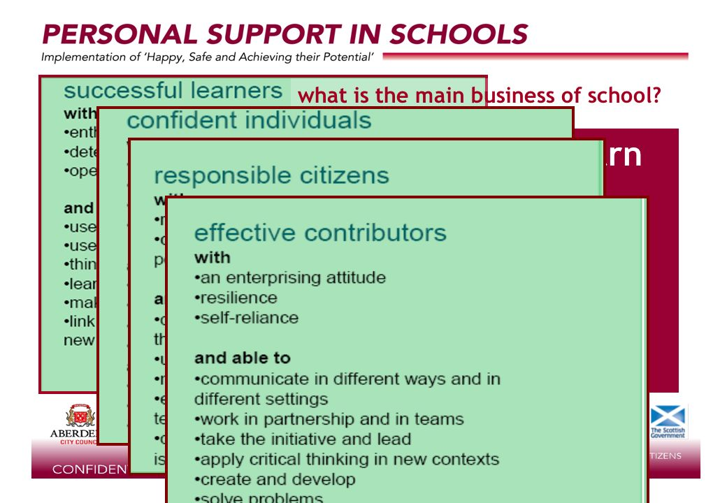 supported by learning how to learn what is the main business of school?