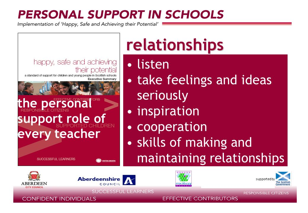 supported by listen take feelings and ideas seriously inspiration cooperation skills of making and maintaining relationships the personal support role of every teacher relationships