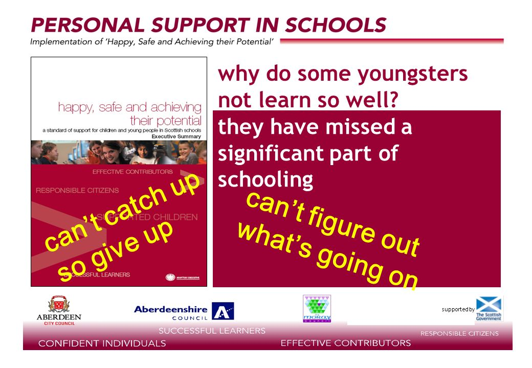supported by they have missed a significant part of schooling why do some youngsters not learn so well.