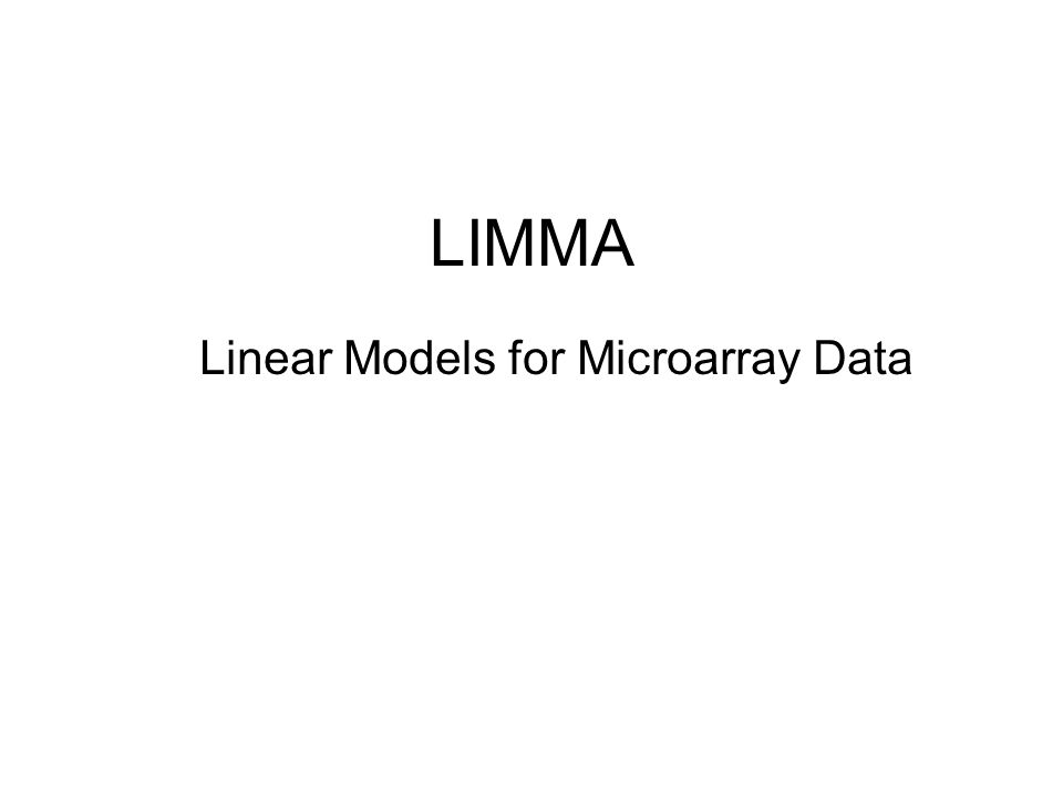 LIMMA Linear Models for Microarray Data