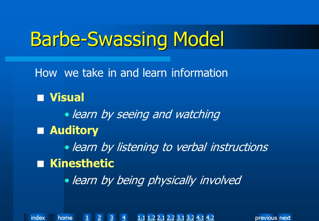 nextpreviousindexhome12341.12.11.22.23.13.24.14.2 How we take in and learn information Visual learn by seeing and watching Auditory learn by listening to verbal instructions Kinesthetic learn by being physically involved Barbe-Swassing Model