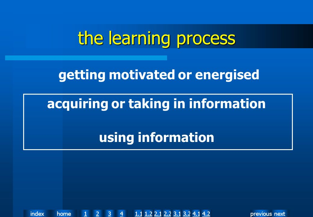 nextpreviousindexhome12341.12.11.22.23.13.24.14.2 the learning process acquiring or taking in information using information getting motivated or energised