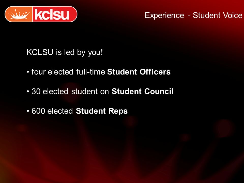 Experience - Student Voice KCLSU is led by you.