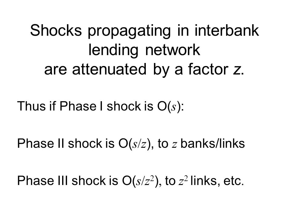 Shocks propagating in interbank lending network are attenuated by a factor z.