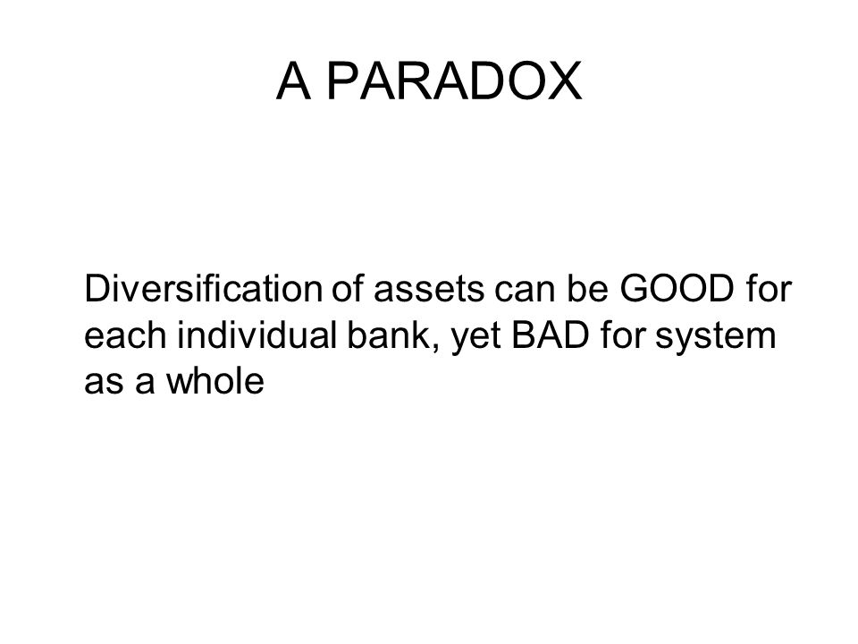 A PARADOX Diversification of assets can be GOOD for each individual bank, yet BAD for system as a whole