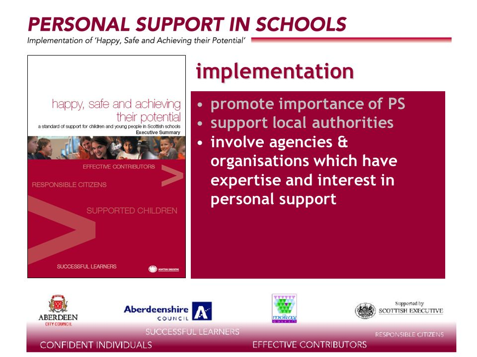 supported by the implementation promote importance of PS support local authorities involve agencies & organisations which have expertise and interest in personal support