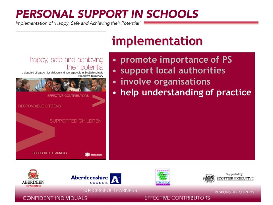 supported by the implementation promote importance of PS support local authorities involve organisations help understanding of practice