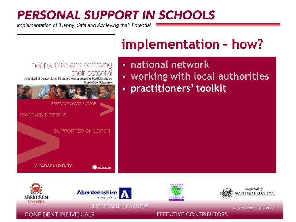 supported by the implementation – how? national network working with local authorities practitioners toolkit