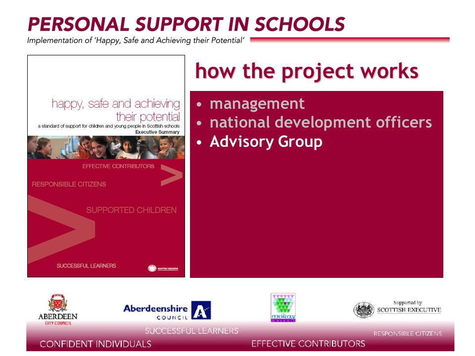supported by the how the project works management national development officers Advisory Group