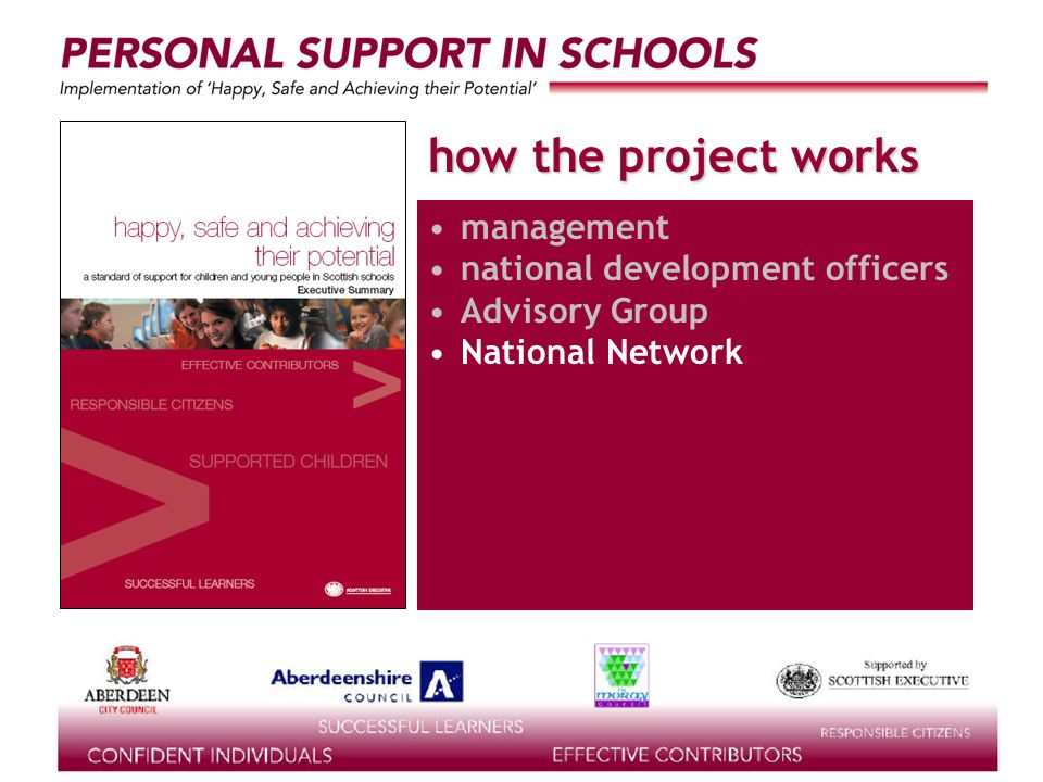 supported by the how the project works management national development officers Advisory Group National Network