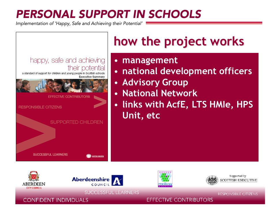 supported by the how the project works management national development officers Advisory Group National Network links with AcfE, LTS HMIe, HPS Unit, e