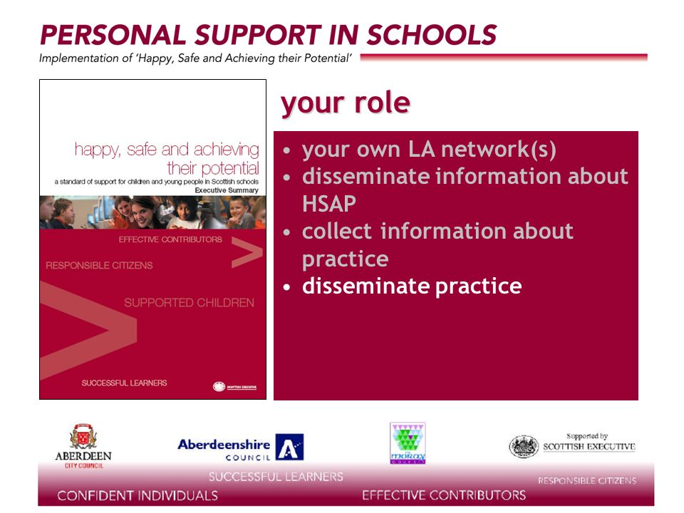 supported by the your role your own LA network(s) disseminate information about HSAP collect information about practice disseminate practice
