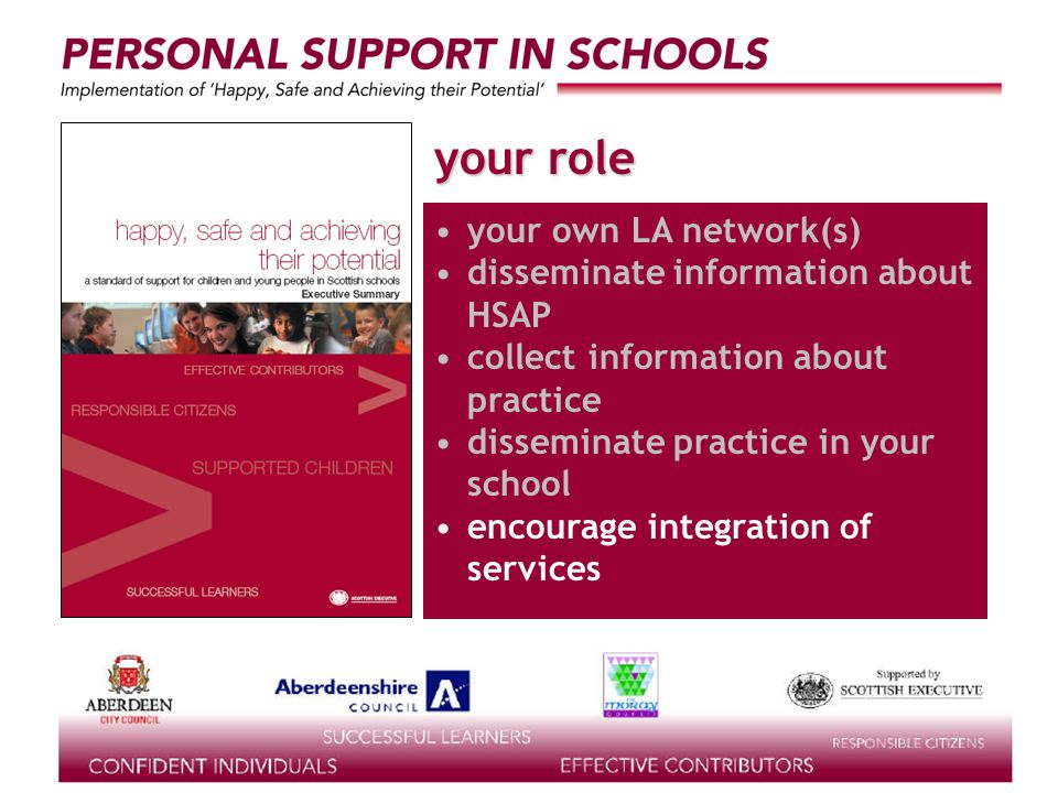 supported by the your role your own LA network(s) disseminate information about HSAP collect information about practice disseminate practice in your school encourage integration of services