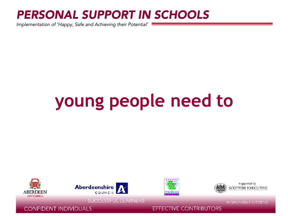 supported by the young people need to