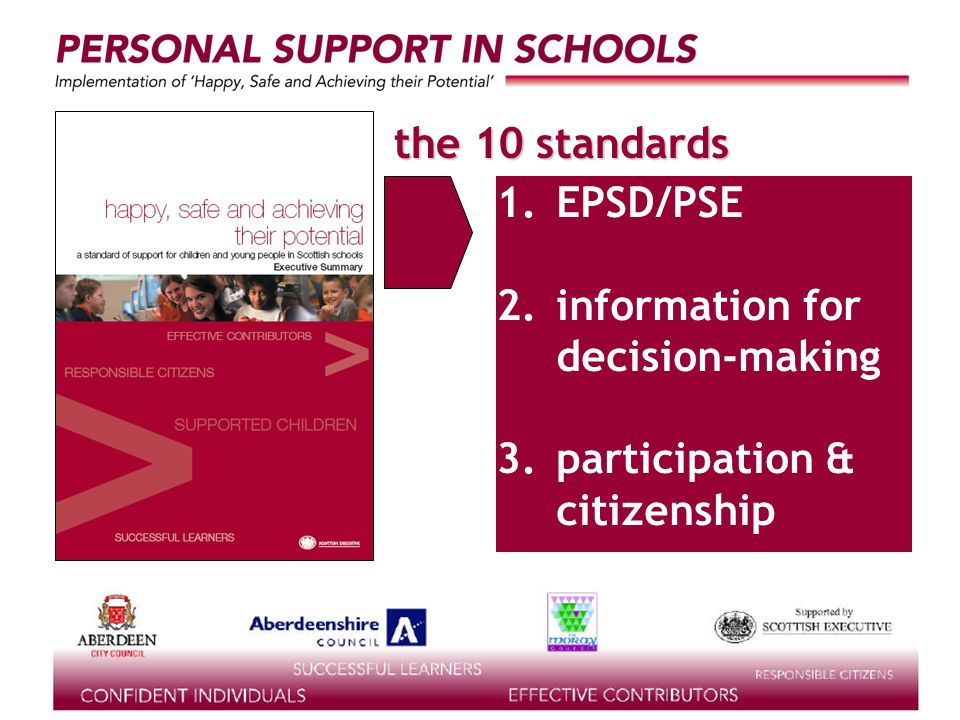 supported by the the 10 standards learning for life 1.EPSD/PSE 2.information for decision-making 3.participation & citizenship