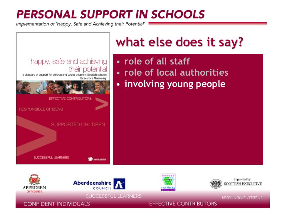 supported by the what else does it say? role of all staff role of local authorities involving young people