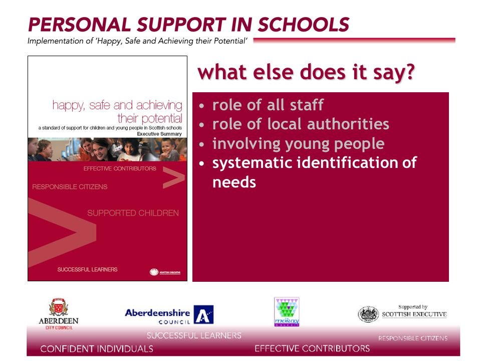 supported by the what else does it say? role of all staff role of local authorities involving young people systematic identification of needs