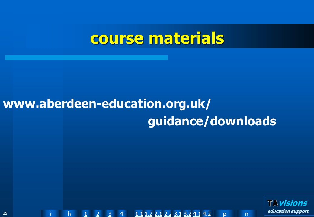 npih12341.12.11.22.23.13.24.14.2 TA TAvisions education support 15 5 course materials www.aberdeen-education.org.uk/ guidance/downloads
