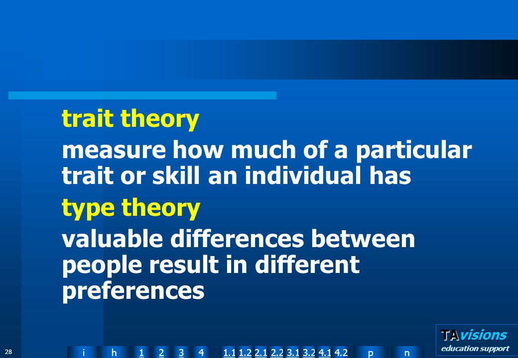 npih12341.12.11.22.23.13.24.14.2 TA TAvisions education support 28 trait theory measure how much of a particular trait or skill an individual has type theory valuable differences between people result in different preferences