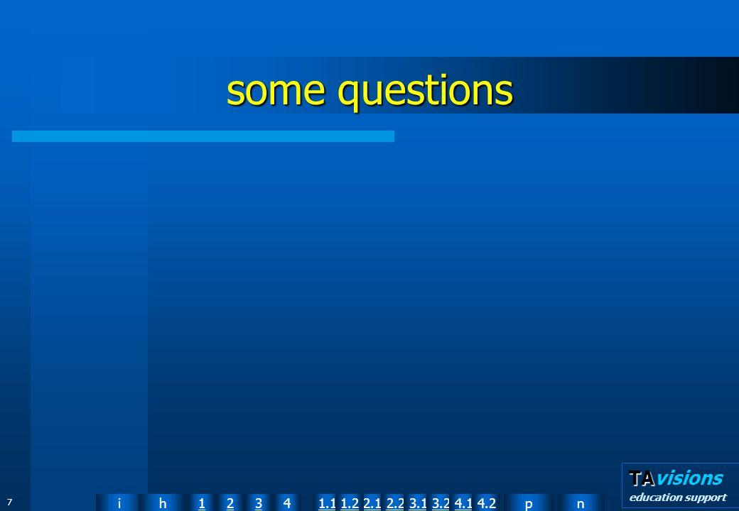npih12341.12.11.22.23.13.24.14.2 TA TAvisions education support 58 acquiring/taking in information sensing