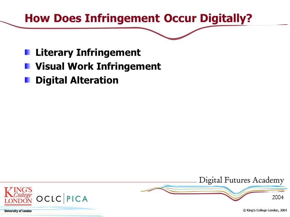 How Does Infringement Occur Digitally? Literary Infringement Visual Work Infringement Digital Alteration
