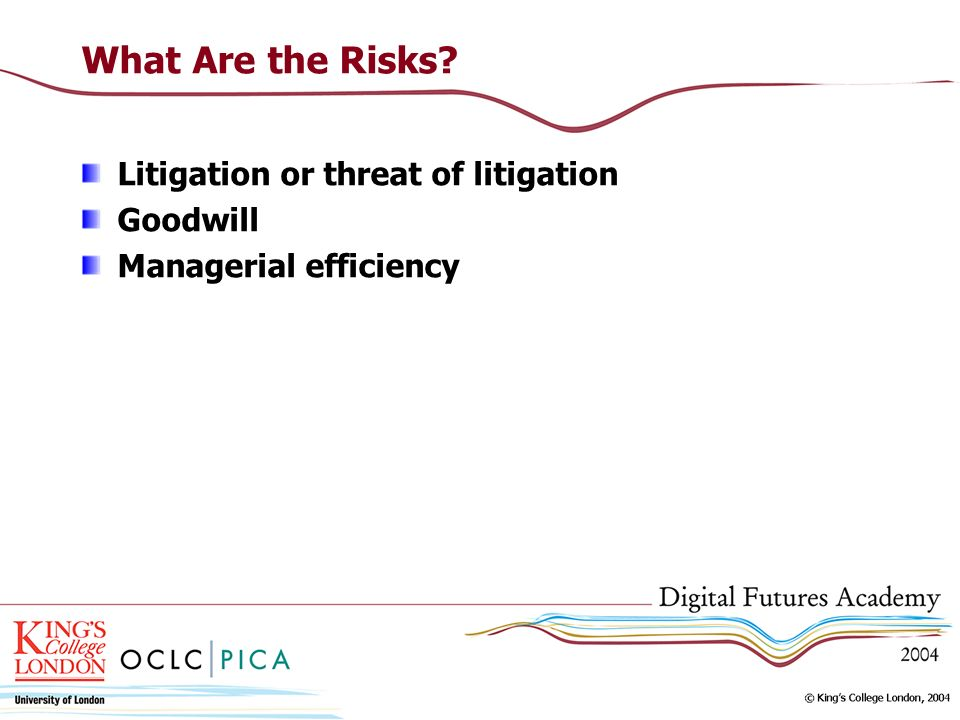 What Are the Risks? Litigation or threat of litigation Goodwill Managerial efficiency