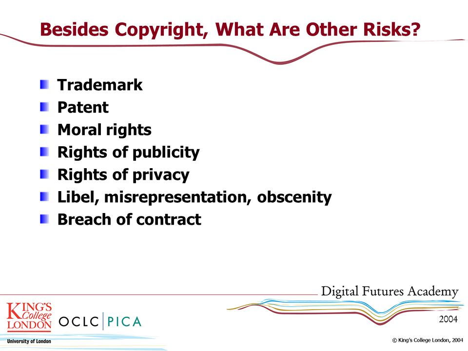 Besides Copyright, What Are Other Risks? Trademark Patent Moral rights Rights of publicity Rights of privacy Libel, misrepresentation, obscenity Breac