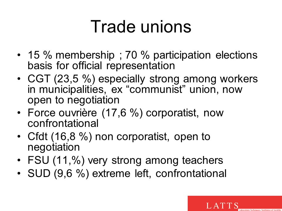 Trade unions 15 % membership ; 70 % participation elections basis for official representation CGT (23,5 %) especially strong among workers in municipalities, ex communist union, now open to negotiation Force ouvrière (17,6 %) corporatist, now confrontational Cfdt (16,8 %) non corporatist, open to negotiation FSU (11,%) very strong among teachers SUD (9,6 %) extreme left, confrontational