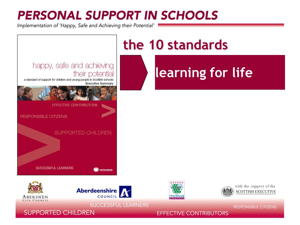 with the support of the the 10 standards learning for life 1.EPSD/PSE self-esteem & confidence life skills personal & social development