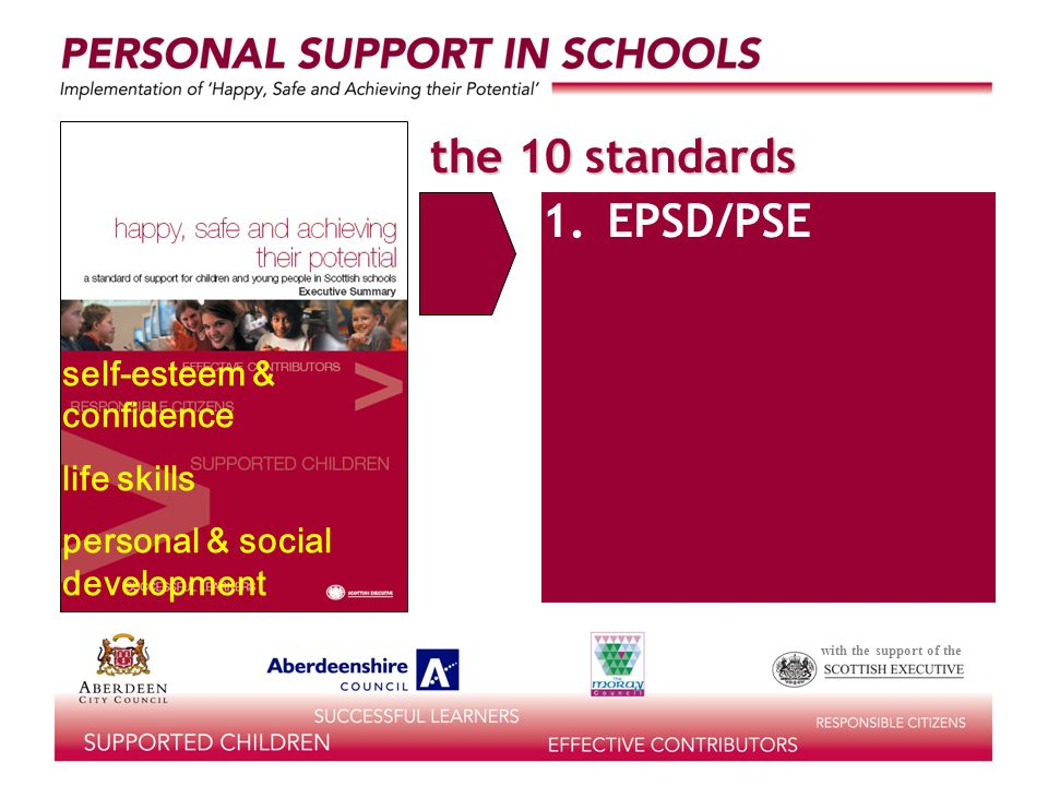 with the support of the the 10 standards learning for life 1.EPSD/PSE 2.information for decision-making accessible, relevant information job/career decisions lifestyles