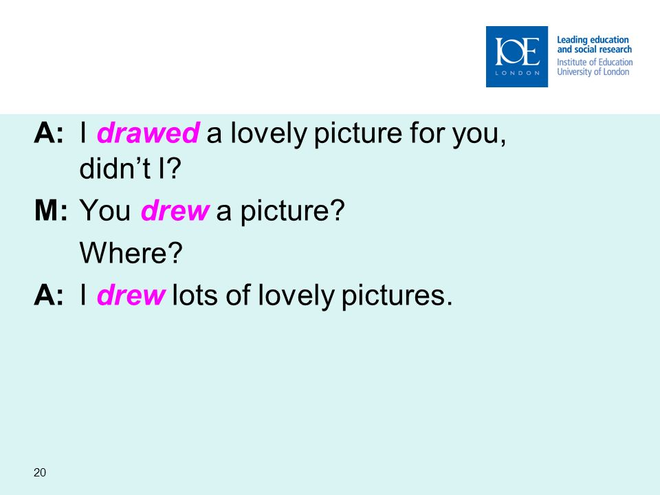 20 A:I drawed a lovely picture for you, didnt I? M:You drew a picture? Where? A:I drew lots of lovely pictures.