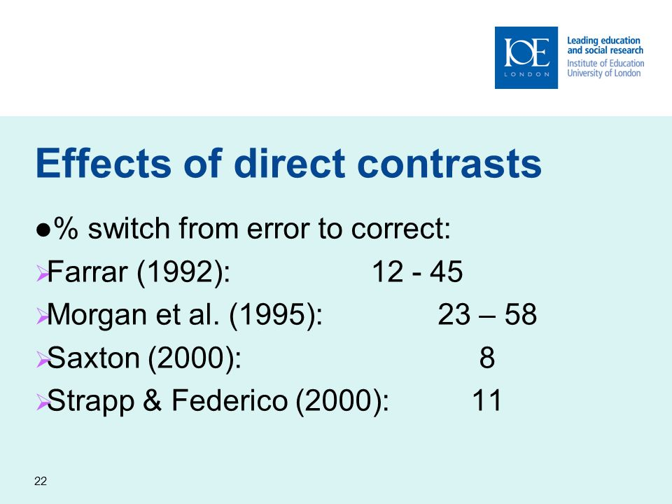 22 Effects of direct contrasts % switch from error to correct: Farrar (1992):12 - 45 Morgan et al. (1995):23 – 58 Saxton (2000): 8 Strapp & Federico (