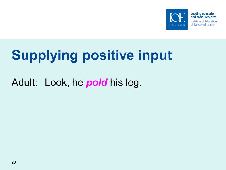 28 Supplying positive input Adult:Look, he pold his leg.