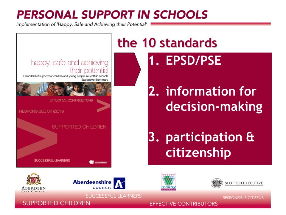 the 10 standards learning for life 1.EPSD/PSE 2.information for decision-making 3.participation & citizenship
