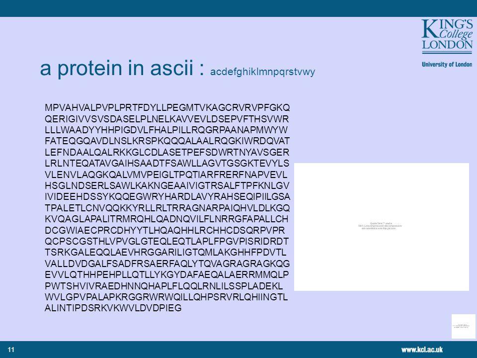 11 a protein in ascii : acdefghiklmnpqrstvwy MPVAHVALPVPLPRTFDYLLPEGMTVKAGCRVRVPFGKQ QERIGIVVSVSDASELPLNELKAVVEVLDSEPVFTHSVWR LLLWAADYYHHPIGDVLFHALPILLRQGRPAANAPMWYW FATEQGQAVDLNSLKRSPKQQQALAALRQGKIWRDQVAT LEFNDAALQALRKKGLCDLASETPEFSDWRTNYAVSGER LRLNTEQATAVGAIHSAADTFSAWLLAGVTGSGKTEVYLS VLENVLAQGKQALVMVPEIGLTPQTIARFRERFNAPVEVL HSGLNDSERLSAWLKAKNGEAAIVIGTRSALFTPFKNLGV IVIDEEHDSSYKQQEGWRYHARDLAVYRAHSEQIPIILGSA TPALETLCNVQQKKYRLLRLTRRAGNARPAIQHVLDLKGQ KVQAGLAPALITRMRQHLQADNQVILFLNRRGFAPALLCH DCGWIAECPRCDHYYTLHQAQHHLRCHHCDSQRPVPR QCPSCGSTHLVPVGLGTEQLEQTLAPLFPGVPISRIDRDT TSRKGALEQQLAEVHRGGARILIGTQMLAKGHHFPDVTL VALLDVDGALFSADFRSAERFAQLYTQVAGRAGRAGKQG EVVLQTHHPEHPLLQTLLYKGYDAFAEQALAERRMMQLP PWTSHVIVRAEDHNNQHAPLFLQQLRNLILSSPLADEKL WVLGPVPALAPKRGGRWRWQILLQHPSRVRLQHIINGTL ALINTIPDSRKVKWVLDVDPIEG